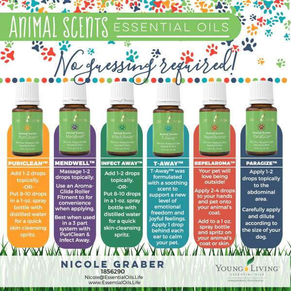 essential oil blends specially formulated for dogs, cats, horses, livestock, animals