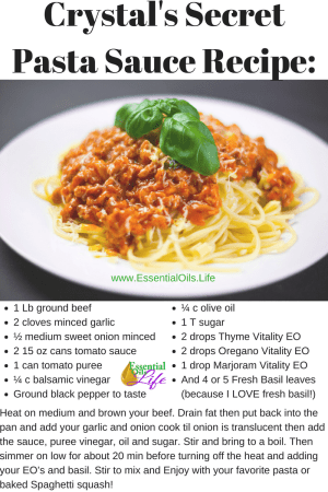 Crystal's secret pasta sauce recipe