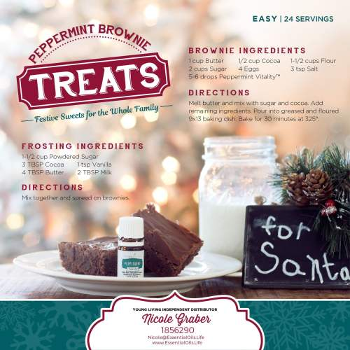Hit the refresh button on your brownies! Adding a little peppermint vitality to your batter gives your taste buds a whole new perspective on brownies! The peppermint definitely lightens and brightens the flavor.
