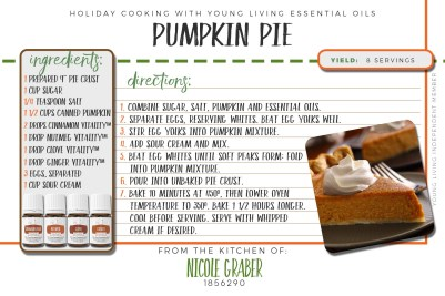 A twist on the classic pumpkin pie! This recipe features cinnamon, nutmeg, clove, and ginger vitality essential oils. The flavor is unlike any other pumpkin pie I've ever had... very rounded... I'll always be using this recipe from now on!