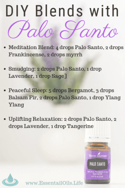 Palo Santo essential oil is beneficial to keep on hand when you want support for your muscles, bones, joints, immune and circulatory functioning. It has a light woody aroma that inspires a peaceful environment in your home or office. Here are our favorite Palo Santo DIY essential oil diffuser blends
