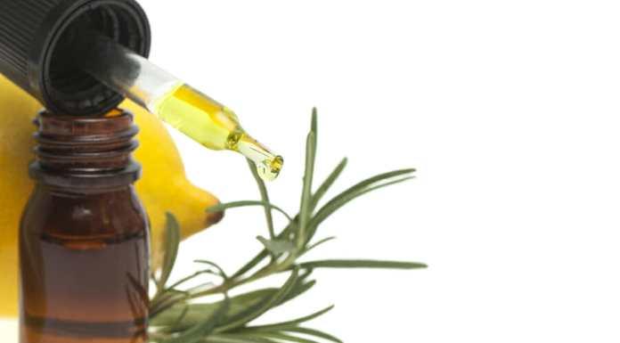 Lemon essential oil, lemon fruit and rosemary on white background