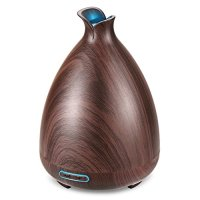 URPOWER Essential Oil Diffuser 130ml Wood Grain Ultrasonic Aromatherapy Oil Diffuser with Adjustable Mist Mode Waterless Auto Shut-off humidifier and 7 Color Changing LED Lights for Home Office Baby