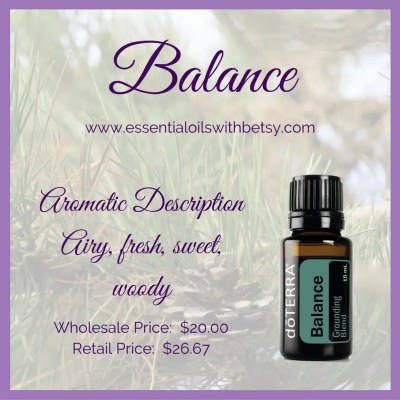 doTERRA Balance is one of my very favorite essential oil blends. It contains Spruce Needle/Leaf, Ho Wood, Frankincense Resin, Blue Tansy Flower, and Blue Chamomile Flower essential oils in a base of Fractionated Coconut Oil.