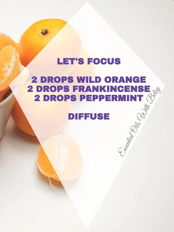 Let's Focus Diffuser Blend 15 BRAND NEW ESENTIAL OIL BLENDS: LET'S FOCUS BLEND 2 DROPS WILD ORANGE 2 DROPS FRANKINCENSE 2 DROPS PEPPERMINT DIFFUSE IT!