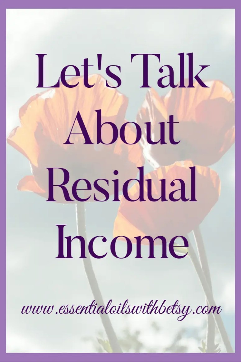 "Residual income. Let's talk about this for a minute. Don't run away on me, because this isn't some crazy scheme. I think you know me better than that! ;-) The truth is, if you aren't taking advantage of residual income, then you are missing out! I've been hearing a lot lately about, ""I love the oils, but I can't afford them!"" Trust me, you definitely CAN afford essential oils! I pay for my own oils every month is this little thing called residual income. And so can you!"