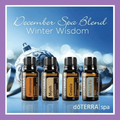 27 doTERRA diffuser blends |December Spa Blend (Winter Wisdom) - Diffuse equal parts Frankincense, Myrrh Cassia and White Fir (replace White Fir with Siberian Fir)