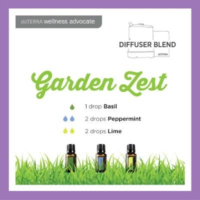Garden Zest - 1 drop Basil 2 drops Peppermint 1 drop Lime | 27 doTERRA diffuser blends |