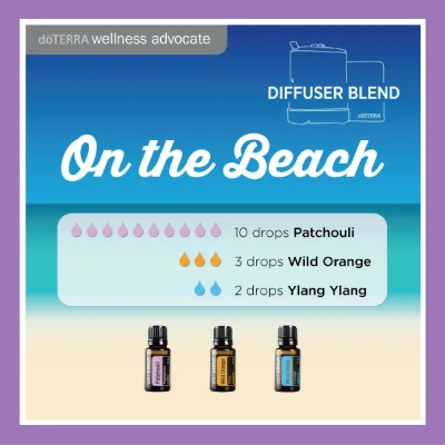 On the Beach - 12 drops Patchouli 3 drops Wild Orange 2 drops Ylang Ylang | 27 doTERRA diffuser blends |