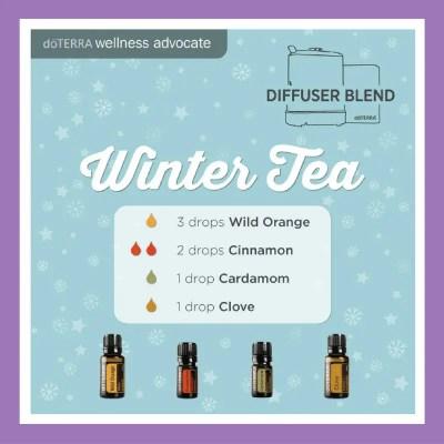 27 doTERRA diffuser blends | Winter Tea - 3 drops Wild Orange 2 drops Cinnamon 1 drop Cardamom 1 drop Clove