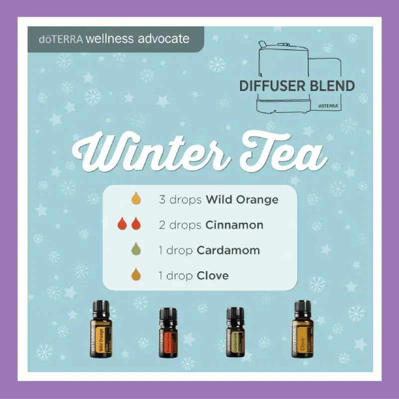 27 doTERRA diffuser blends | Winter Tea - 3 drops Wild Orange 2 drops Cinnamon 1 drop Cardamom 1 drop Clove