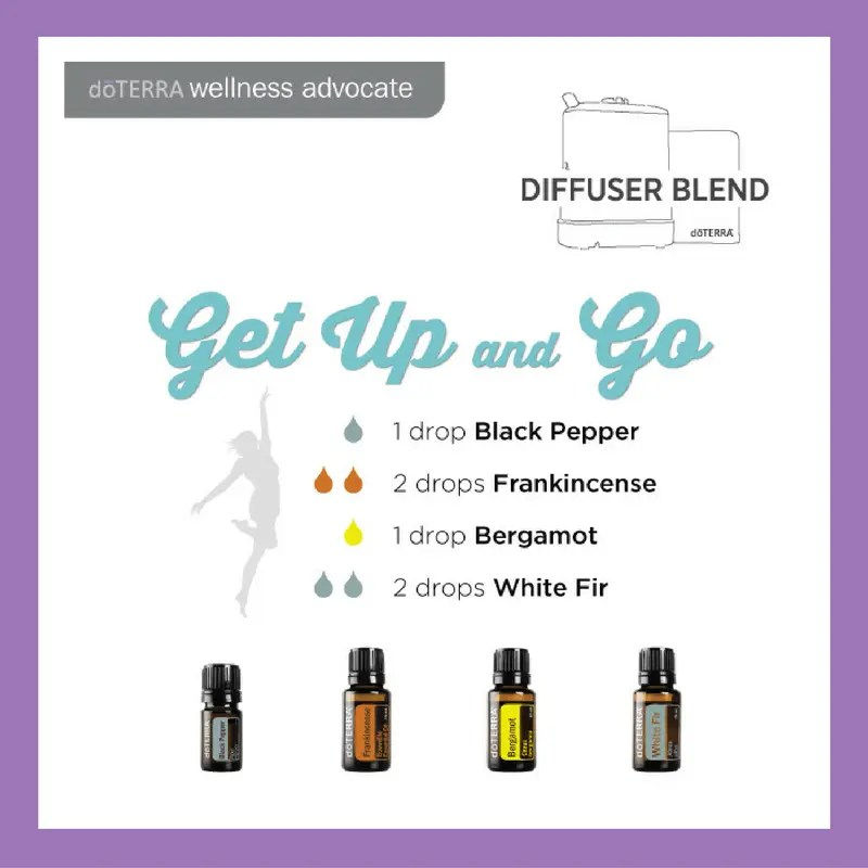 Get Up and Go 1 drop Black Pepper 2 drops Frankincense 1 drop Bergamot 2 drops White Fir (replace White Fir with Siberian Fir) | 27 doTERRA diffuser blends