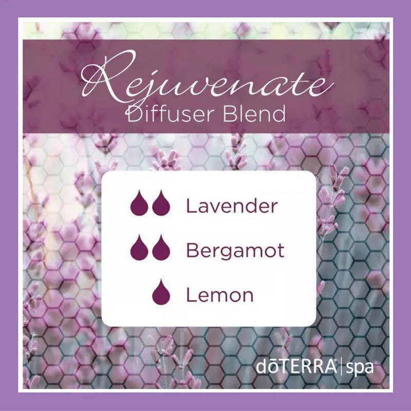 27 doTERRA diffuser blends | Rejuvenate - 2 drops Lavender 2 drops Bergamot 1 drop Lemon