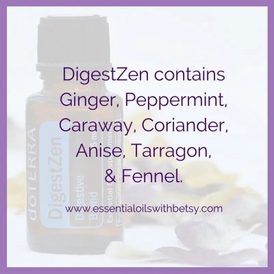 DigestZen contains Ginger, Peppermint, Caraway, Coriander, Anise, Tarragon, & Fennel.