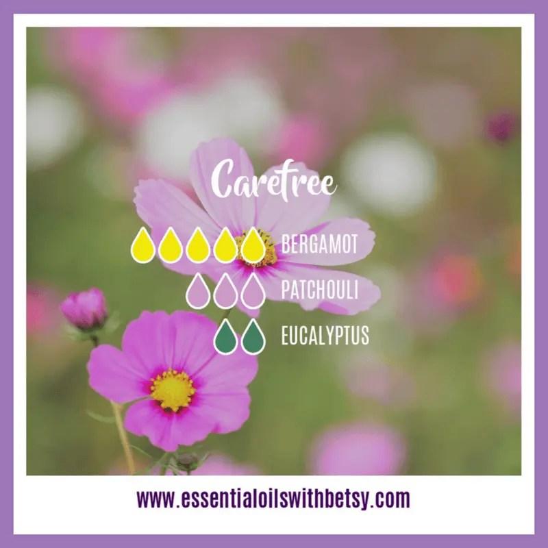 Carefree Spring Diffuser Recipe 5 drops of Bergamot 3 drops of Patchouli 2 drops of Eucalyptus