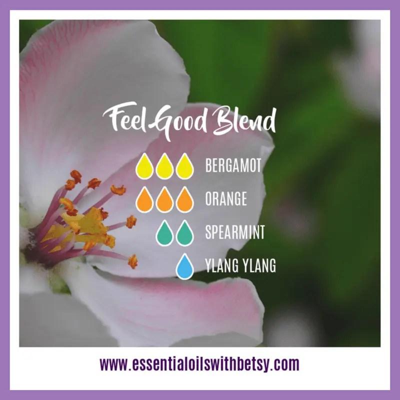 Feel Good Diffuser Blend 3 drops of Bergamot 3 drops of Orange 2 drops of Spearmint 1 drop of Ylang Ylang