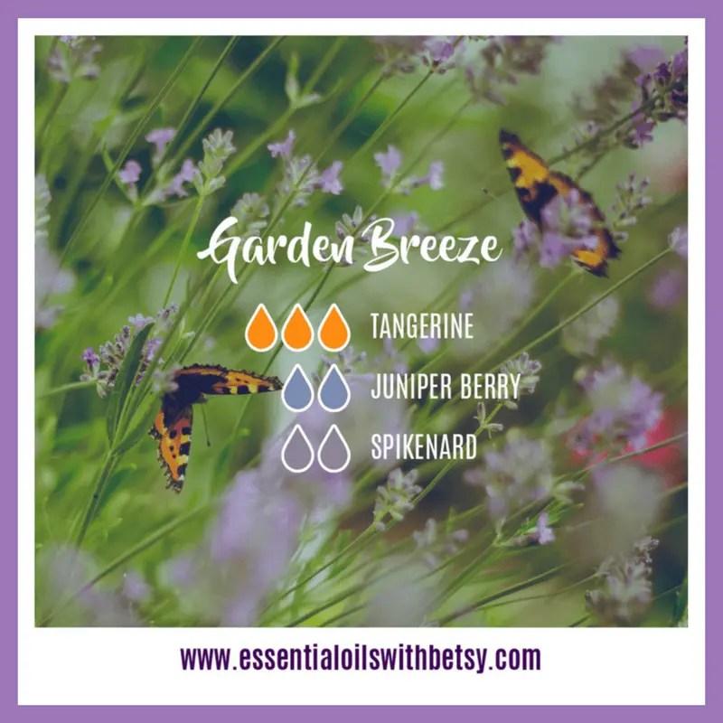 Garden Breeze Diffuser Blend 3 drops of doTERRA Tangerine essential oil 2 drops of Juniper Berry 2 drops of Spikenard