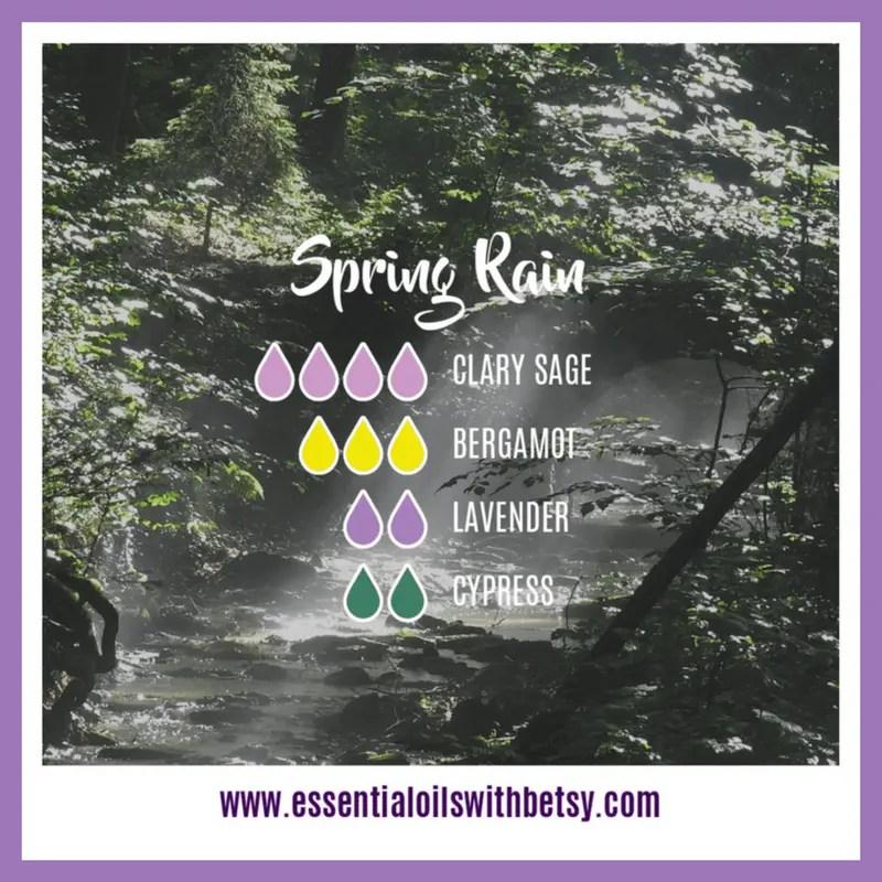 Spring Rain Diffuser Blend 4 drops of Clary Sage 3 drops of Bergamot 2 drops of Lavender 2 drops of Cypress
