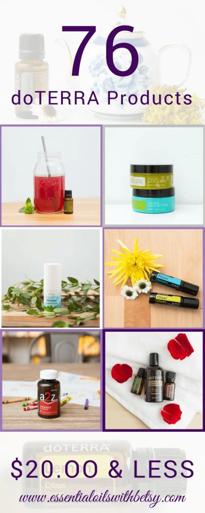 76 doTERRA Products $20 (And Under) What if you could buy pure and natural healthcare products for only twenty dollars... or less? What if a natural healthcare option was easy, cheap, affordable... and available right in the comfort of your own home? But wait! It is! Enter my amazing list of 76 doTERRA products $20 (And Under). You are going to love this! List of doTERRA Products $20 Dollars Or Less