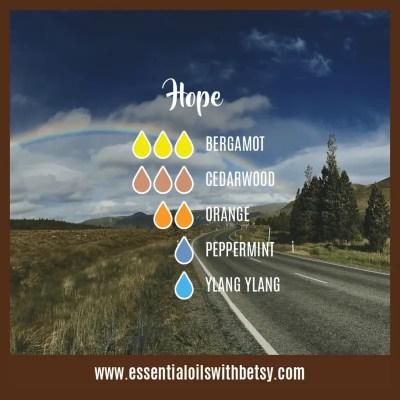 Hope: Bergamot, Cedarwood, Orange, Peppermint, Ylang Ylang