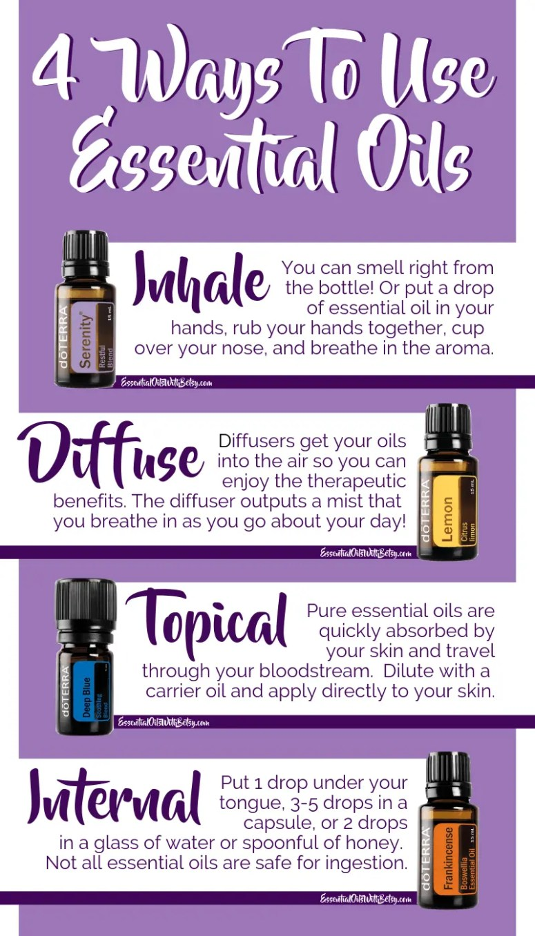 Use Essential Oils Four Different Ways!  You can use essential oils by inhaling them,  use essential oils aromatically with a diffuser,  use essential oils topically on the skin,  use essential oils internally  #essentialoils #naturalhealth #doterra