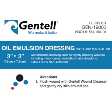 3″x3″ Oil Emulsion Dressing, CASE OF 50