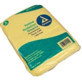 Fluid Resistant Isolation Gowns, Universal Size, Yellow, CASE OF 50