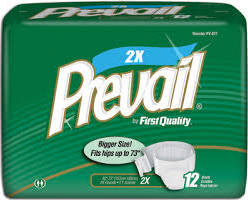 Per-Fit Prevail Adult Fitted Brief Diaper,2XL,62″-73″,CASE OF 48