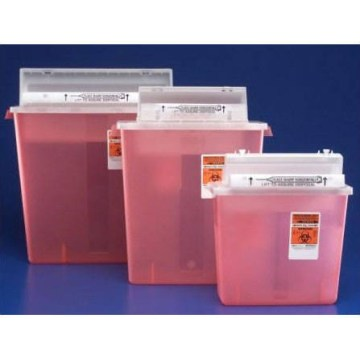 SharpStar 5 Quart Sharps Translucent Container With Red Base,CASE OF 20
