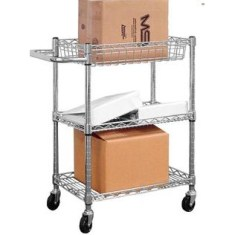 Chrome Steel Pleated Transport Cart, 30″x18″x30″, 3 Shelves
