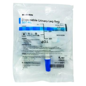 Urinary Leg Bag With Anti-Reflux Valve, 500mL , CASE OF 48