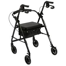 4 Wheel Rollator, Black Folding Aluminum