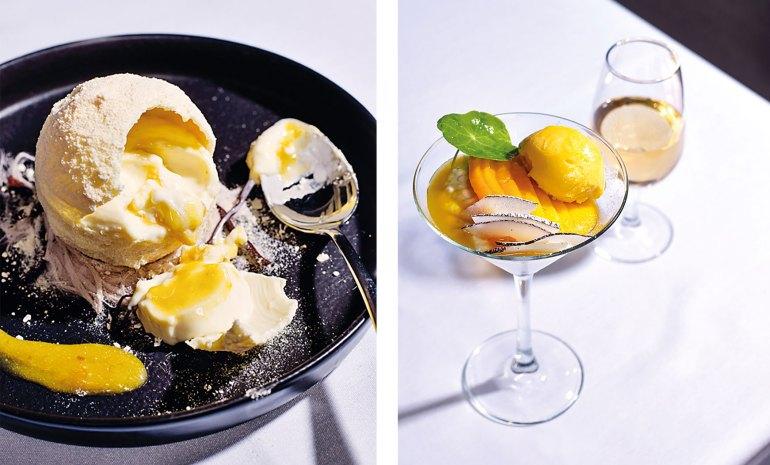 Desserts: White chocolate sphere with vanilla panna cotta and mandarin curd; Coconut and pandanus flavoured tapioca with fresh mango
