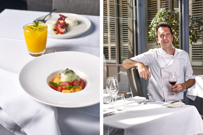 Tuileries' French-born head chef Christoph Niklaus; Melon fruit salad, cucumber sorbet & chia seeds