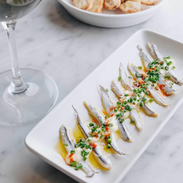 Boquerones: White anchovies, sweet paprika, salad cream, charred toast