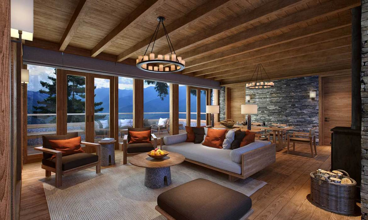 Paro Villa living room, Six Senses, Bhutan