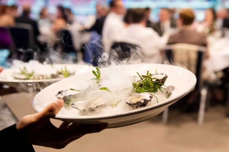 Tathra Oysters, served natural with coastal herbs: samphire and beach bananas at Wednesday evening's awards presentation dinner.