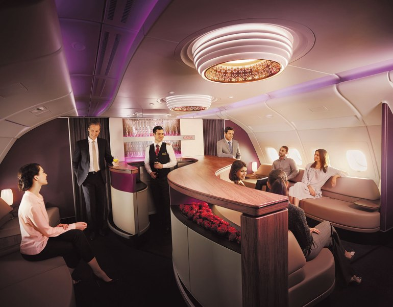 Sanctuary Lounge on board Qatar Airways' A380 aircraft