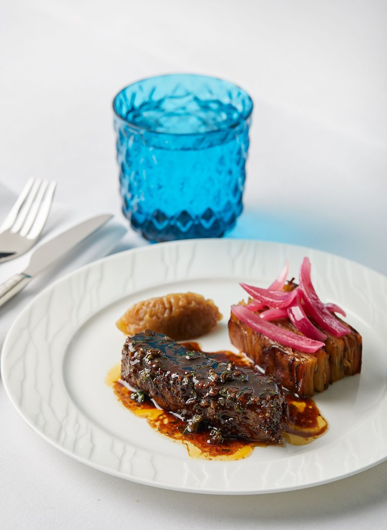 Bastourma beef short rib with onions and potato à la greque from George Calombaris's menu