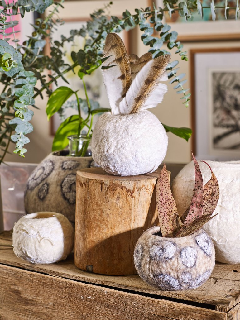 Erin Whitford Felted wool nest sculptures