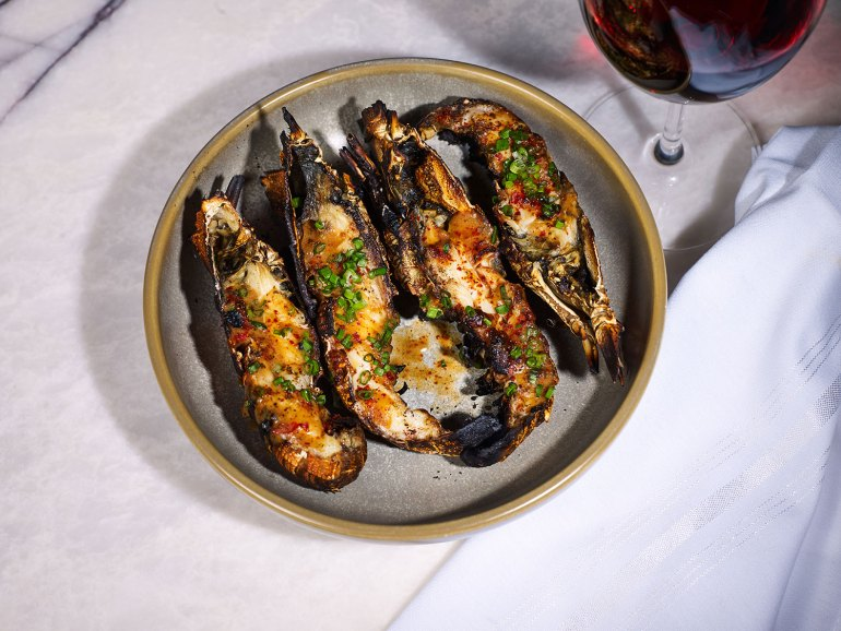 Wood-roasted Moreton Bay Bugs with salted duck egg and fermented chilli