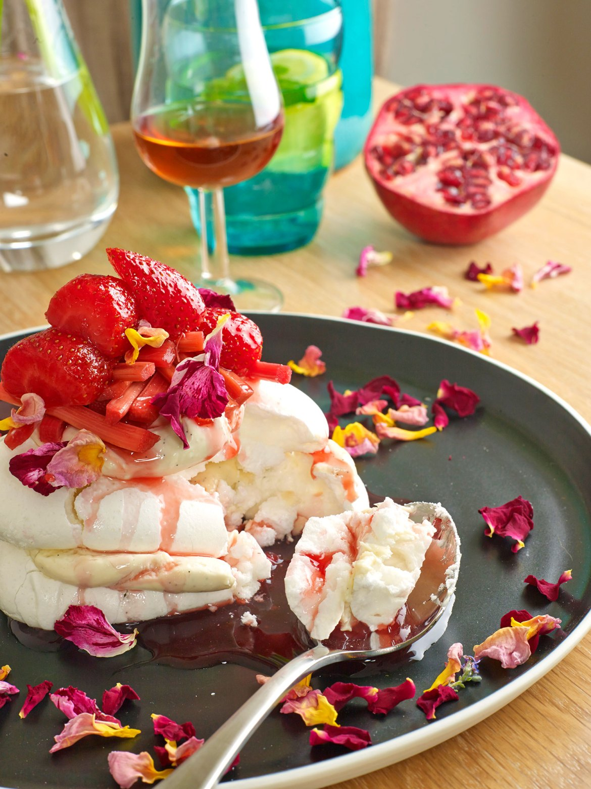 Rosewater Meringue with Poached Fruits