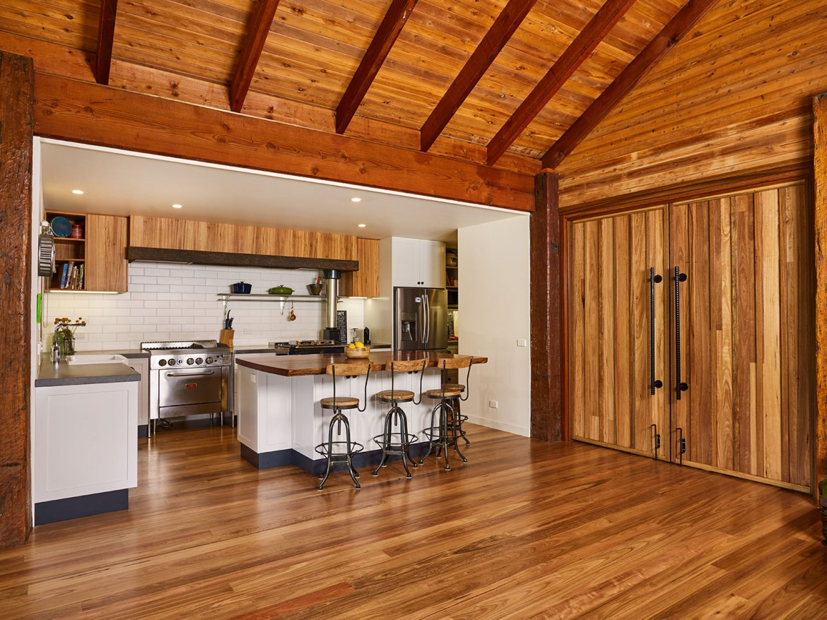 The newly designed kitchen caters for a large number of guests and family friends,