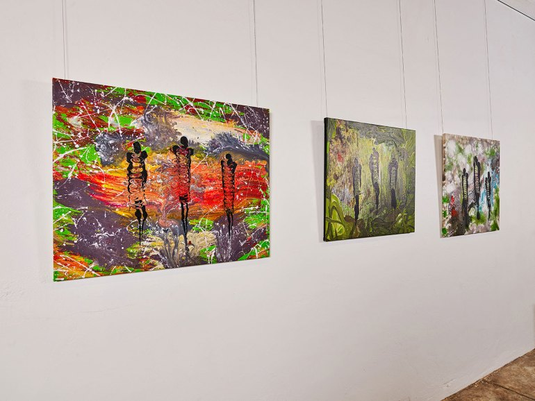 Paintings by Silas Hobson, part of Waanta Mukana – Our Many Yarns, Our Many Stories