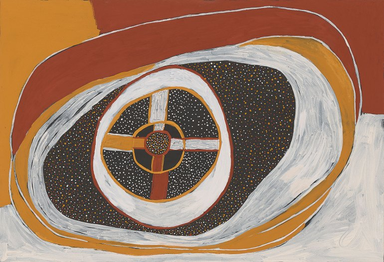 Timothy Cook, Tiwi born 1958, Kulama 2012 Earth pigments on canvas, 150.0 x 220.0 cm National Gallery of Victoria, Melbourne Robert Martin Bequest, 2019 © Timothy Cook / Licensed by Copyright Agency, Australia