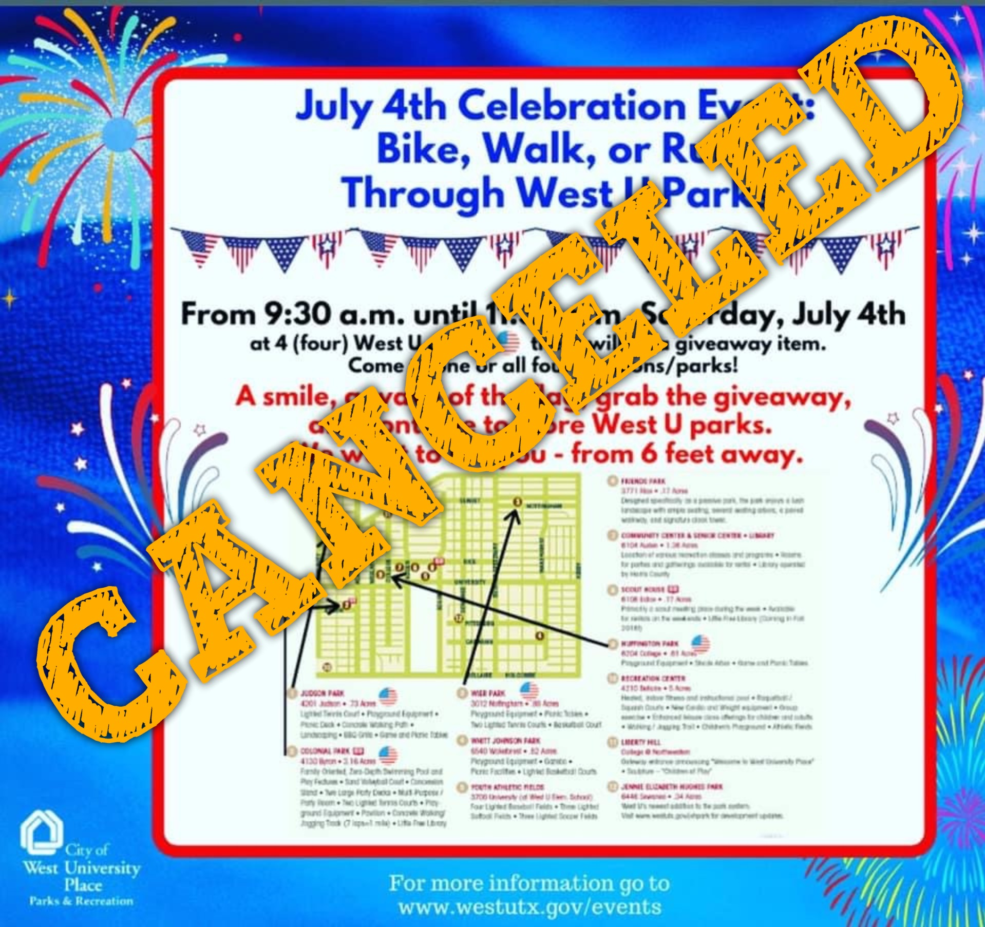 West U cancels Fourth of July event, puts hold on Parks & Rec activities