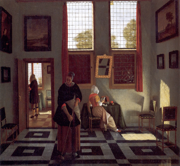 A Woman Reading a letter and a Woman Sweeping, Pieter Jansessens Elinga