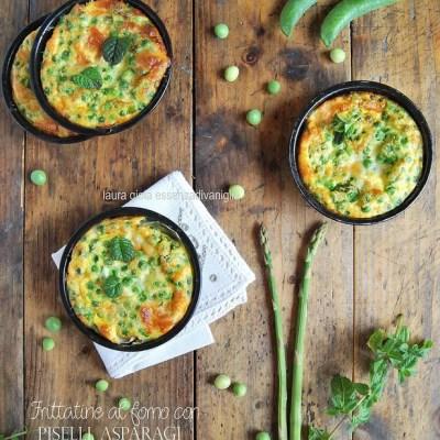 Frittatine al forno di piselli, asparagi, menta e provola