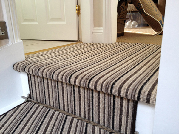 Stripe Carpet To Landing And Stair Large Essex Carpets