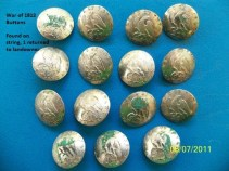 Set of 21st Regiment officers buttons from the War of 1812